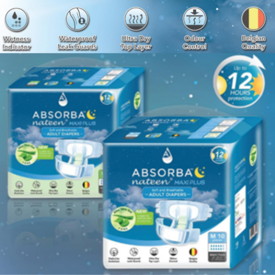Absorba Nateen MAXI PLUS Adult Diapers, 8bags/carton