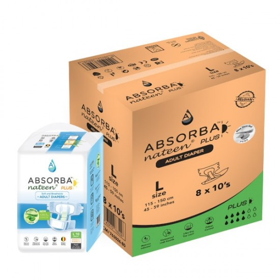 Absorba Nateen PLUS Adult Diapers, 8bags/carton