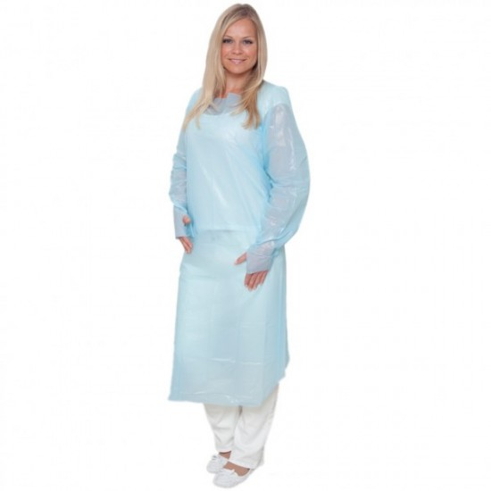 Isomecx - CPE Apron 120cm x 203.5cm, Thickness: 0.1mm, Blue, Elastic Cuffs with Thumb Loops, Non sterile