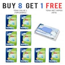 TENA Value, size L, (8 Bag, FREE 1 Tena Wet Wipes)